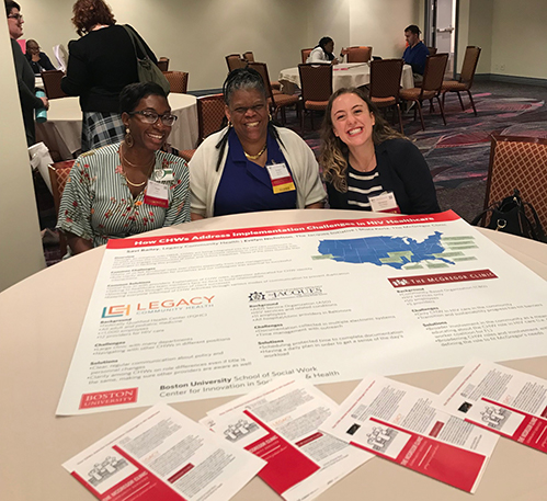 Shala Perla, Evelyn Nicholson, and Savi Bailey present at a poster session at the 2019 Unity Conference.